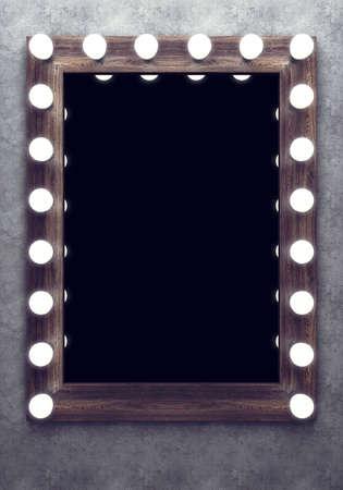 Holz Make-up-Spiegel auf der Betonwand Standard-Bild - 56938669