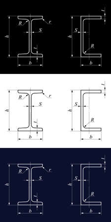 flange: Drawings of cross-sections of beams on the backgrounds of different color. Flange beam and channel beam