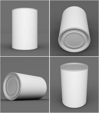 tin can: Set of tin can mock up on grey background. 3D rendering