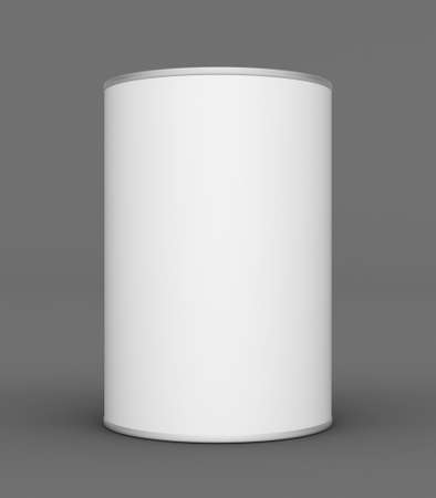 tin can: Tin can mock up on grey background. 3D rendering Stock Photo