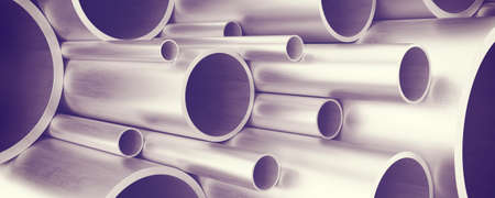 metal pipes: Metal pipes as background. 3D rendering Stock Photo