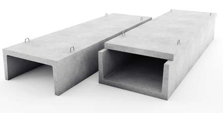 ditch: Reinforced concrete tray for heating main Stock Photo