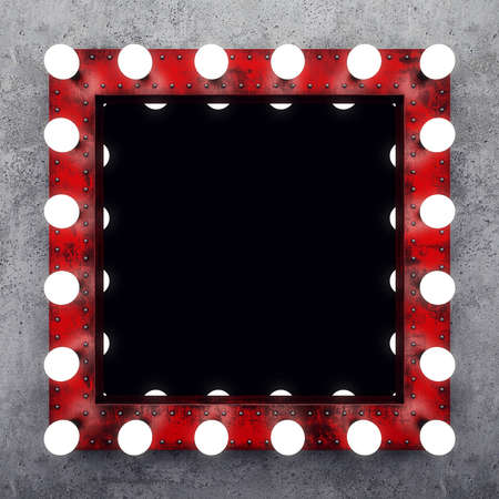 コンクリートの壁にスチーム パンクな化粧鏡 写真素材 - 61085115