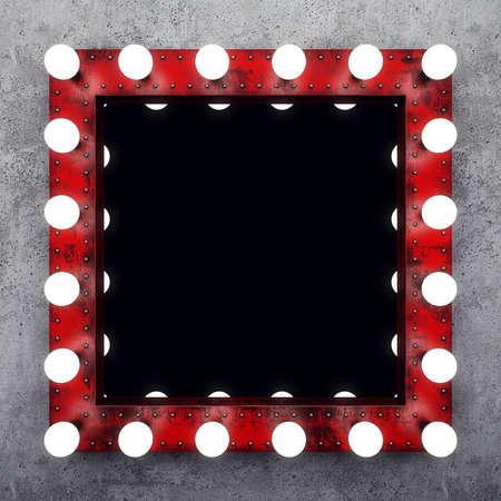 Steampunk make-up spiegel op de betonnen muur Stockfoto