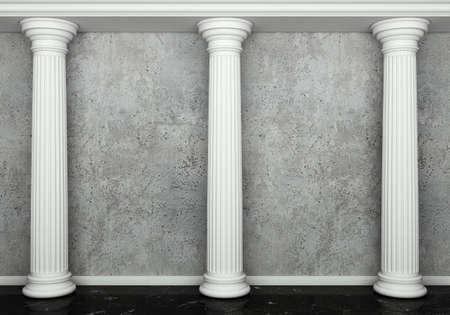 doric: Classic interior with column Stock Photo