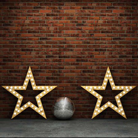 discoball: Brick wall and concrete floor with retro stars and discoball
