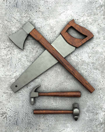 carpentry tools: Carpentry tools on concrete surface