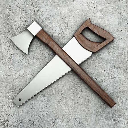 herramientas de carpinteria: Herramientas de carpinter�a en la superficie de concreto Foto de archivo
