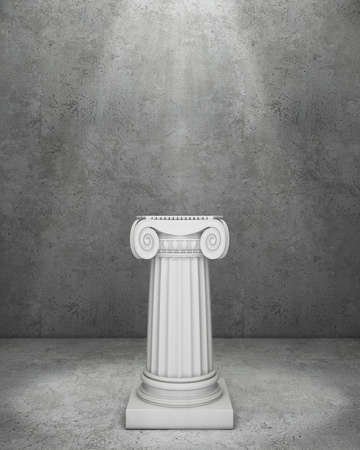 roman pillar: Classic pedestal in concrete room with volume light
