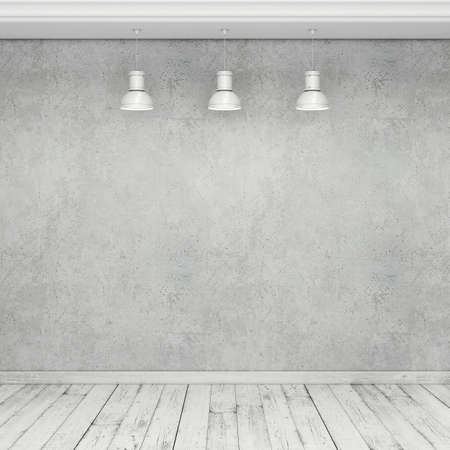 wooden floor: Empty concrete wall, wooden floor and lamps