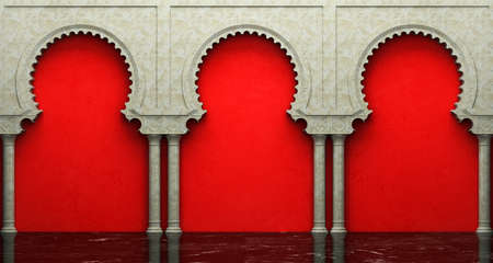 stucco: Stucco wall and marble floor with arches in Eastern style