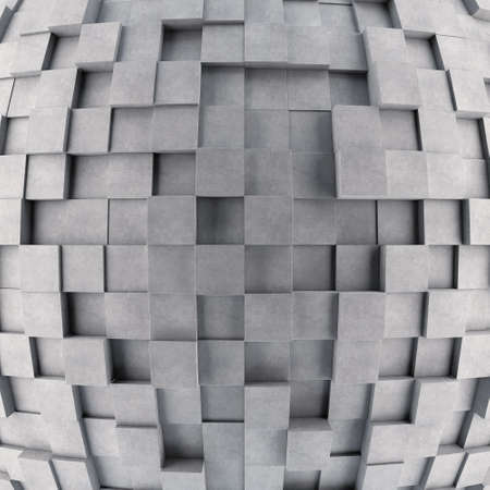 protuberant: Convex concrete 3d cube wall. 3D rendering Stock Photo