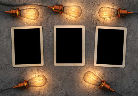 wall light: Old photos on concrete background with retro light bulbs. 3D rendering Stock Photo