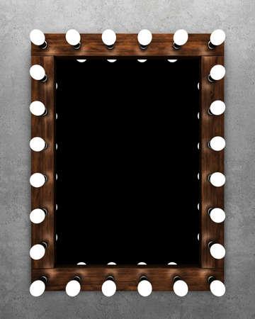 mirror: Wooden makeup mirror on concrete wall. 3D rendering