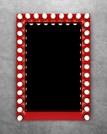 Red Make-up-Spiegel auf der Betonwand. 3D-Rendering Standard-Bild - 66257155