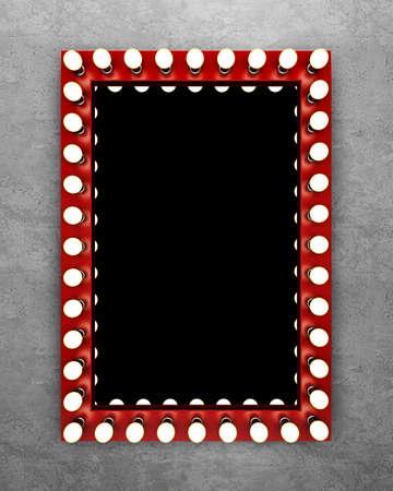콘크리트 벽에 빨간색 화장 거울입니다. 3D 렌더링