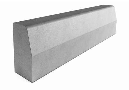 pavement: Grey curbstone on white background
