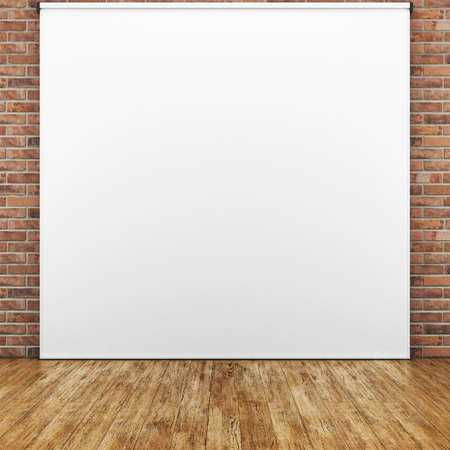 photography backdrop: Room with white background on brick wall. 3D rendering Stock Photo