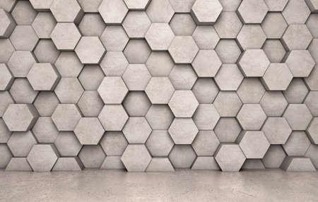 Muur van concrete zeshoeken en concrete vloer