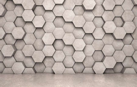 Wall of concrete hexagons and concrete floor Stock Photo