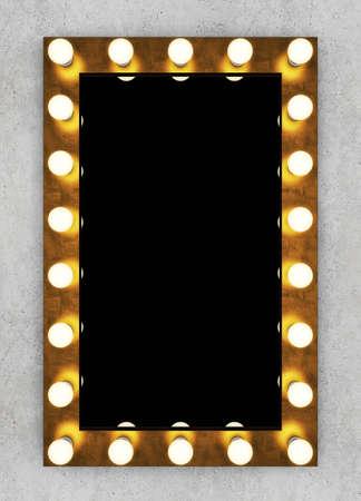 vanity table: Neon arrow on black brick wall. 3D rendering