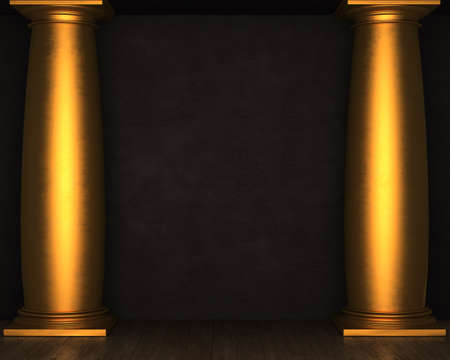 stucco: Black stucco wall with golden columns and wooden floor. 3D rendering
