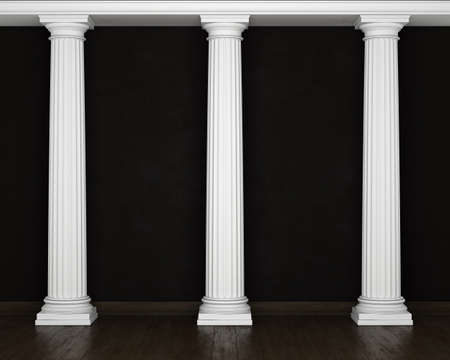 stucco: Dark stucco wall with classical columns and wooden floors. 3D rendering
