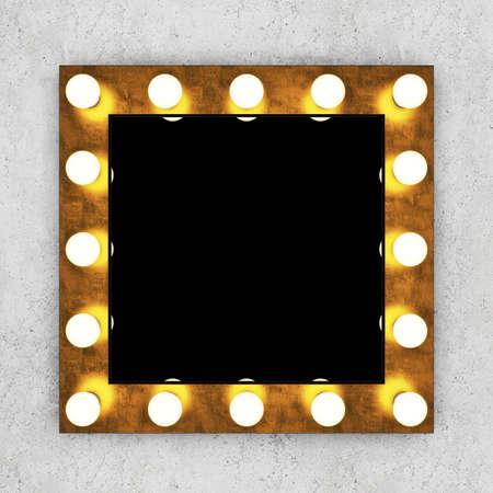 vanity table: Golden retro makeup mirror on concrete wall. 3D rendering
