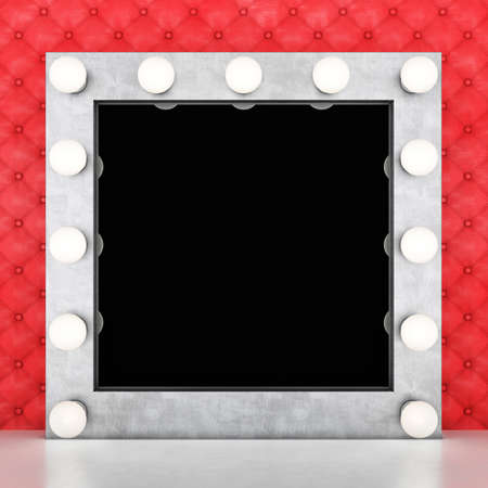 Silver retro makeup mirror on leather background. 3D rendering
