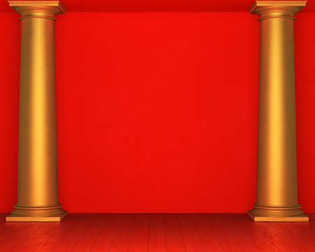 stucco: Red stucco wall with golden columns and wooden floor. 3D rendering