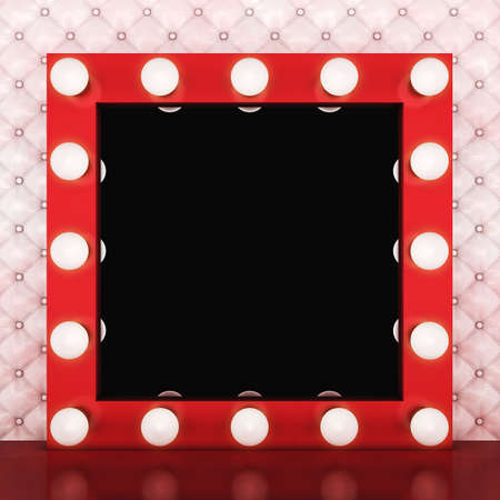 Pink retro makeup mirror on leather background