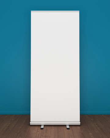 rollup: Blank roll-up banner template. 3D rendering