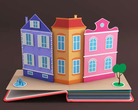 storybook: Pop-up book with vintage street. 3D rendering