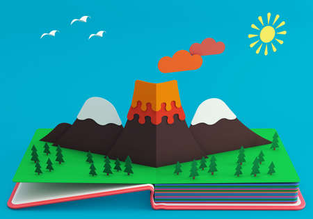 Pop Up Book With Mountainous Landscape And Active Volcano. 3D Rendering