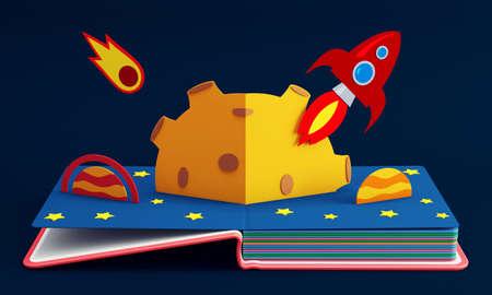 Pop-upboek met raket in de ruimte. 3D-weergave Stockfoto