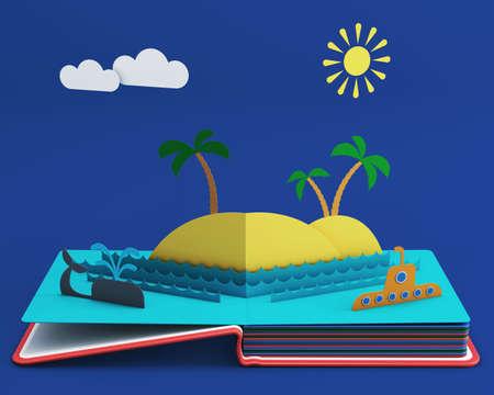 Pop-up Boek Met Tropisch Eiland In Ocean. 3D-weergave