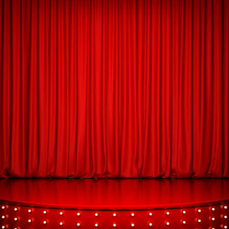 night club interior: Red glossy stage with lighting and red curtain. 3D rendering Stock Photo