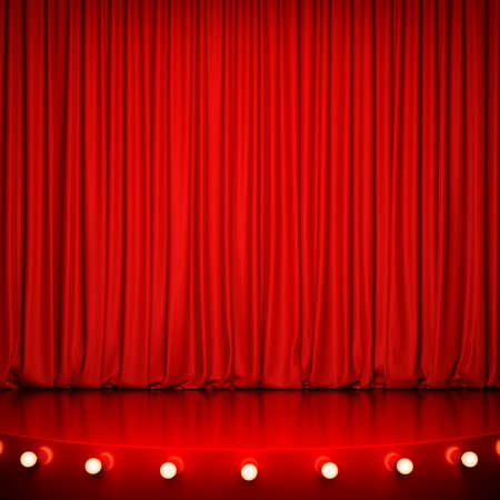 lighting: Red glossy stage with lighting and red curtain. 3D rendering Stock Photo