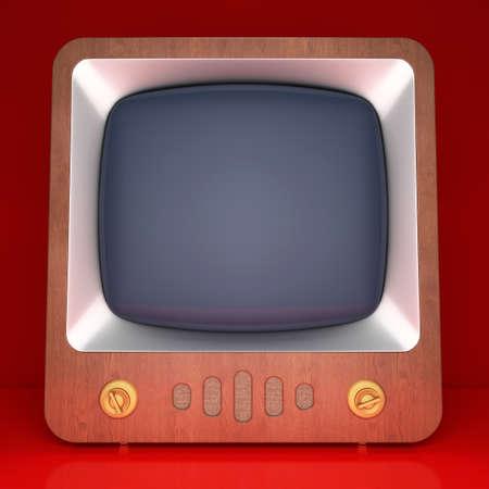 retro tv: Retro TV on red background. 3D rendering