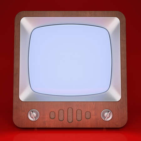 tv screen: Retro TV with white blank screen. 3D rendering Stock Photo