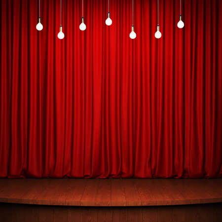 Stage with red curtain, wooden flooring and light bulbs. 3D rendering