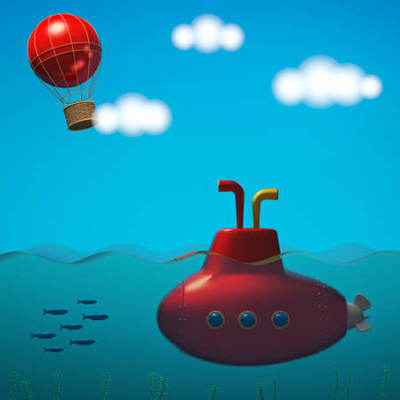 Sea with submarine and sky with balloon in cartoon style. 3D rendering Stock Photo
