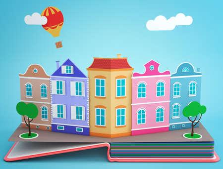 storybook: Pop up book with vintage street. 3D rendering