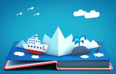 Pop-up boek met stoomboot tussen ijsbergen en ijsschotsen. 3D-rendering