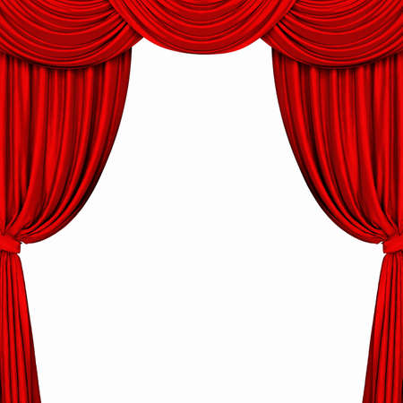 theatrical performance: Red curtain on white background. 3D rendering