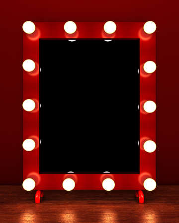 Retro make up mirror on wooden table. 3D rendering