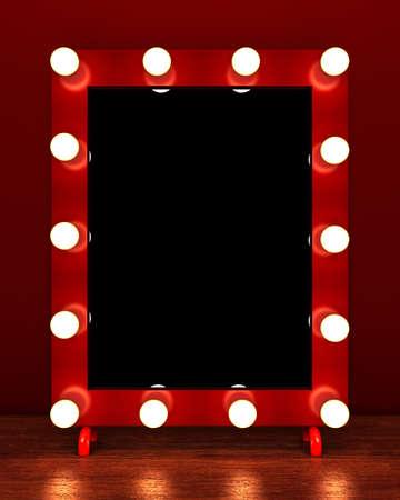 Espejo de maquillaje retro en la mesa de madera. Representación 3D