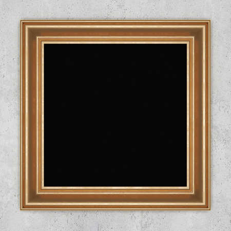 gilded: Gilded frame on concrete wall. 3D rendering
