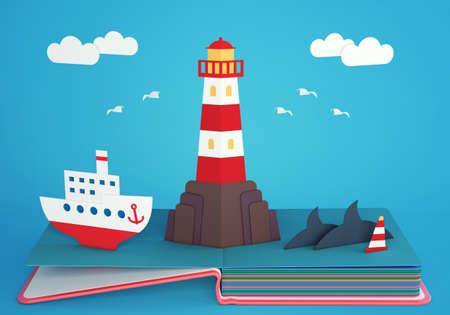 岩だらけの島と汽船の上の灯台が付いている本をポップアップします。3 D レンダリング
