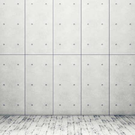 Muur met betonnen panelen en houten vloer. 3D-rendering Stockfoto